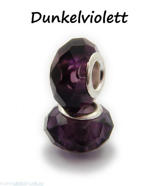 Facettierte Perle / Bead aus Glas 14 x 8 mm Farbe - Dunkelviolett
