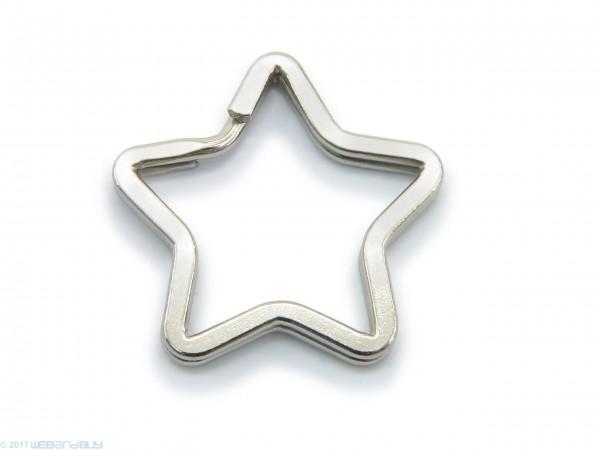 Schlüsselring / split Ring in Sternform 34mm Breite Farbe Platin
