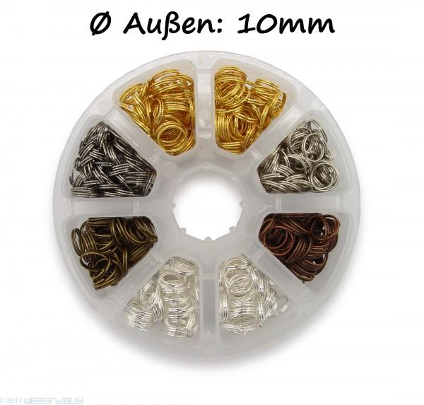 Schlüsselringe Set 10mm Durchmesser 6 Farben ca.10g/ 55Stk je Fach Farben: Gold / Silber / Gun Metal