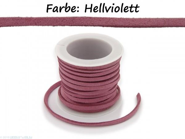 Kunstlederband in Wildlederoptik Hellviolett 5m lang 1,5mm dick 3mm breit