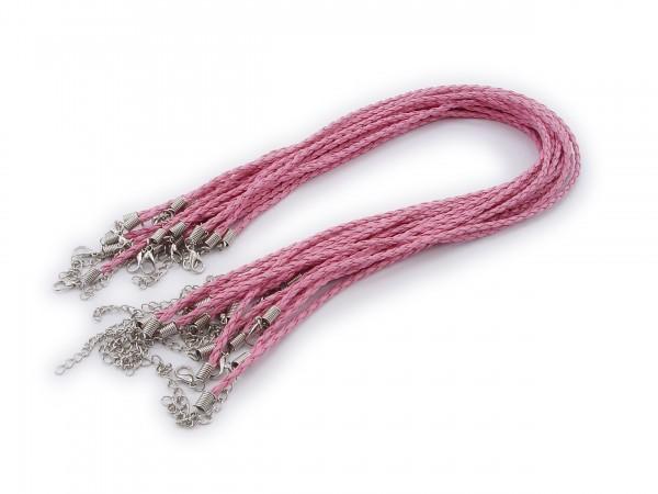 Halsband aus geflochtenem Kunstleder Pink