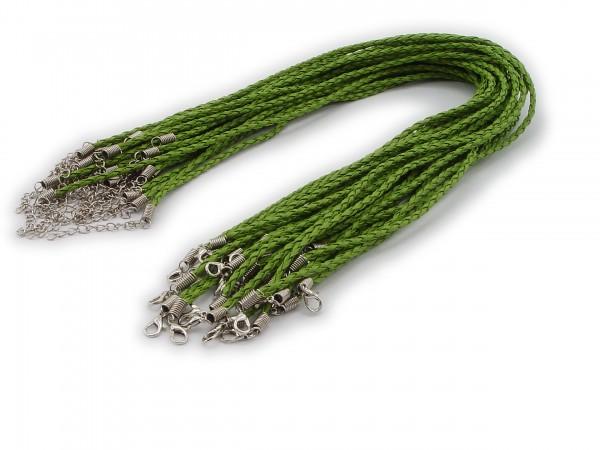 2 Halsbänder aus geflochtenem Kunstleder Pistaziengrün