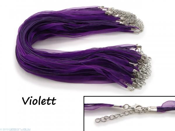 Halskette Organzaband 39cm Schleifenband Schmuckband Kette * Violett *