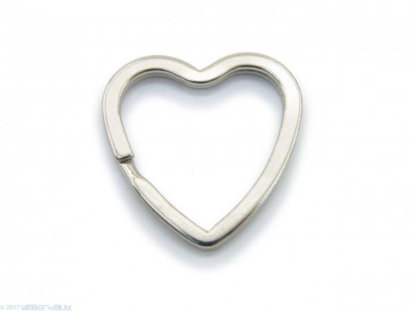 Schlüsselring / split Ring in Herzform 31mm Breite Farbe Platin
