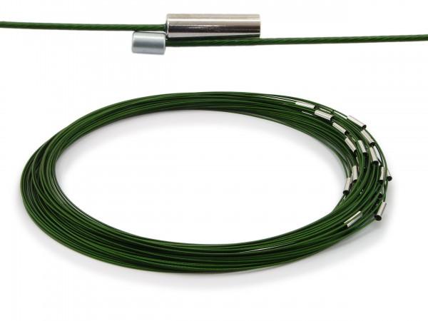 Halsreif aus Stahl Magnetverschluss Dunkelgrün Länge ca. 50 cm