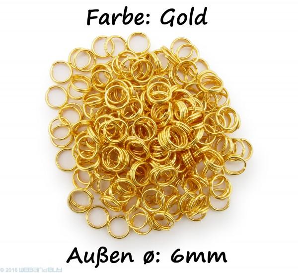 Schlüsselringe / split Rings 6mm Durchmesser Farbe Gold 50g ca.500 Stk
