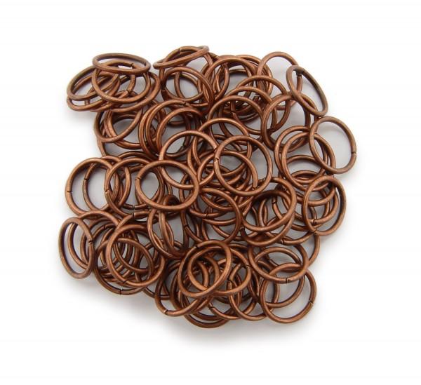 Binderinge / jump Rings 10mm Durchmesser Farbe Antik Kupfer 50g ca.260 Stk