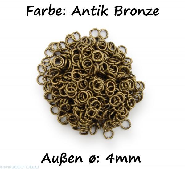 Binderinge / jump Rings 4mm Durchmesser Farbe Antik Bronze 15g ca.420 Stk