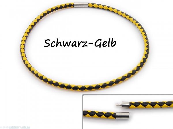 Halsband Halskette Halsreif aus Kunstleder geflochten Schwarz und Gelb