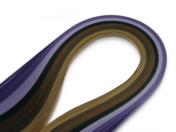 Quilling Papierstreifen Farbmix Braun / Violett 120 Stück 390mm lang 3mm breit