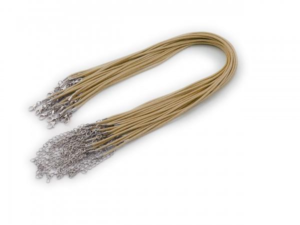 2 Halsbänder aus Wax Cord Beige mit Karabinerverschluss
