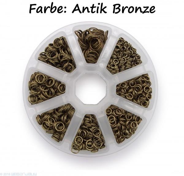 Schlüsselringe Set 4-10mm Durchmesser Farbe Antik Bronze