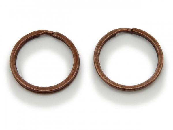 2 Schlüsselringe / split Rings 25 mm Durchmesser Farbe Antik Kupfer