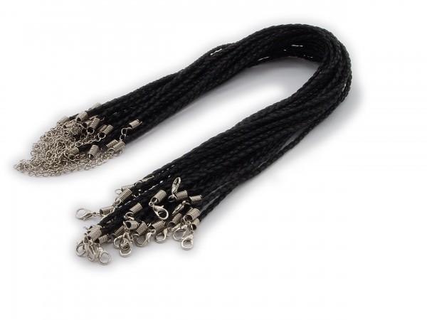 Halsband aus geflochtenem Kunstleder Schwarz