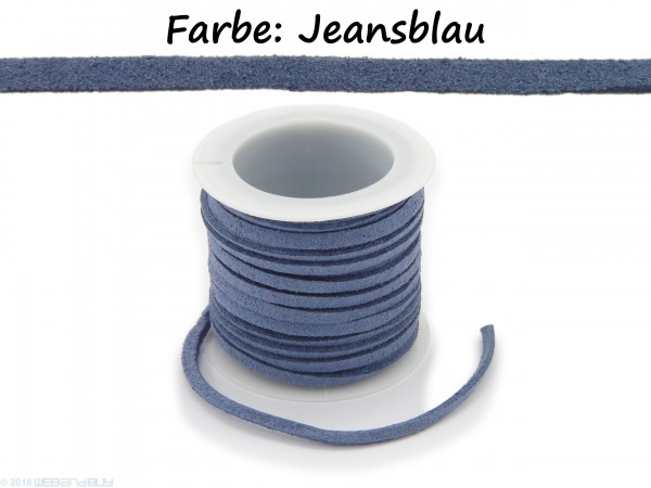 Kunstlederband in Wildlederoptik Jeansblau 5m lang 1,5mm dick 3mm breit