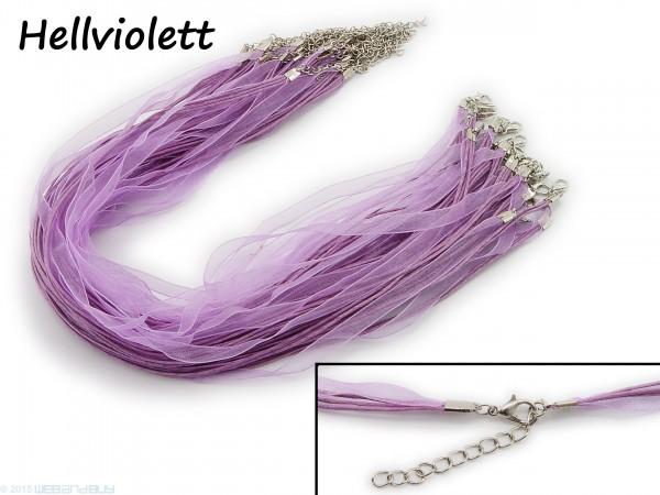 Halskette Organzaband Schleifenband Schmuckband Kette * Hellviolett *
