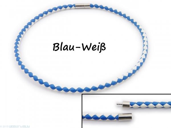 Halsband Halskette Halsreif aus Kunstleder geflochten Blau und Weiß