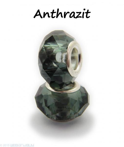 Facettierte Perle / Bead aus Glas 14 x 8 mm Farbe - Anthrazit