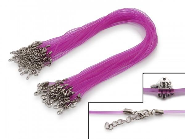 2 Halsbänder aus transparentem Kunststoff Violett