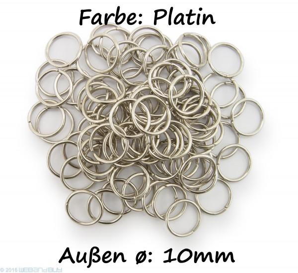 Binderinge / jump Rings 10mm Durchmesser Farbe Platin 50g ca.260 Stk