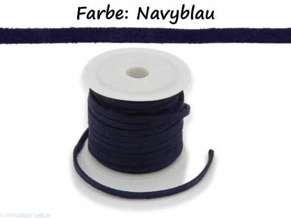 Kunstlederband in Wildlederoptik Navyblau 5m lang 1,5mm dick 3mm breit