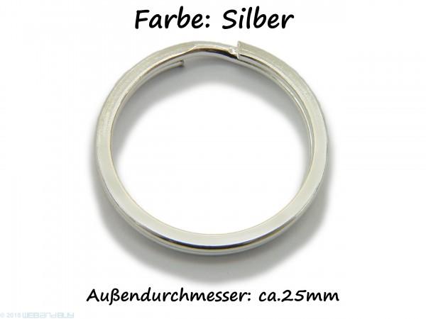 Schlüsselring / split Ring 25 mm Durchmesser Farbe Silber