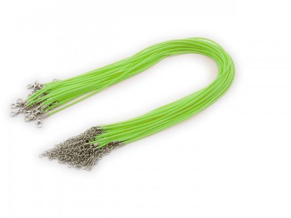 2 Halsbänder aus Wax Cord Grasgrün mit Karabinerverschluss