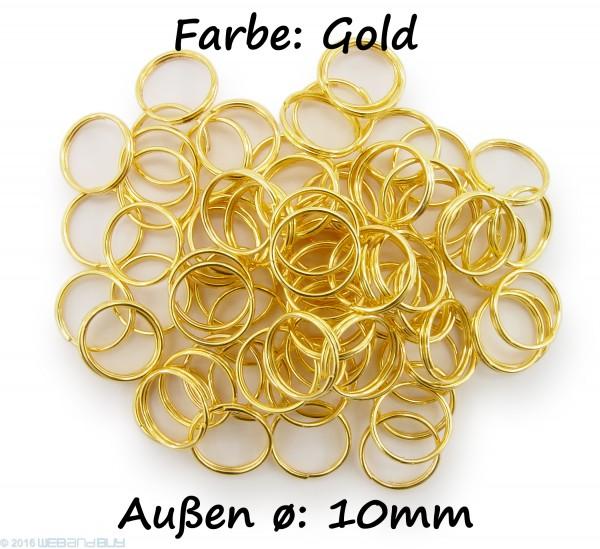 Schlüsselringe / split Rings 10mm Durchmesser Farbe Gold 15g ca.80 Stk