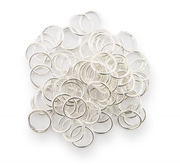 Binderinge / jump Rings 10mm Durchmesser Farbe Silber 15g ca.80 Stk