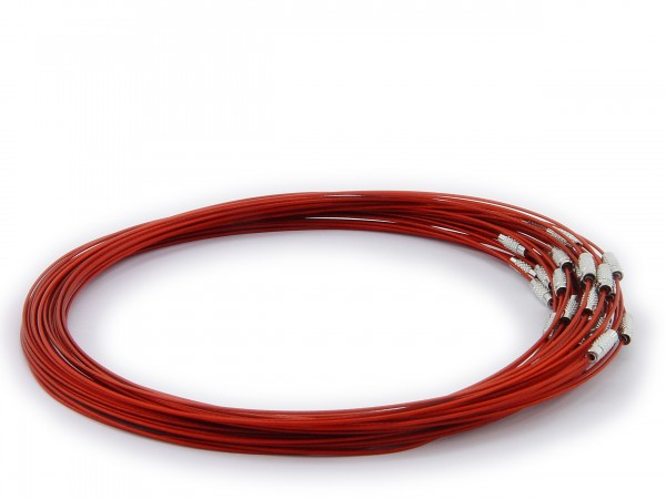 Halsreif aus Stahl ** Rot ** Schraubverschluss ** Länge ca. 45 cm