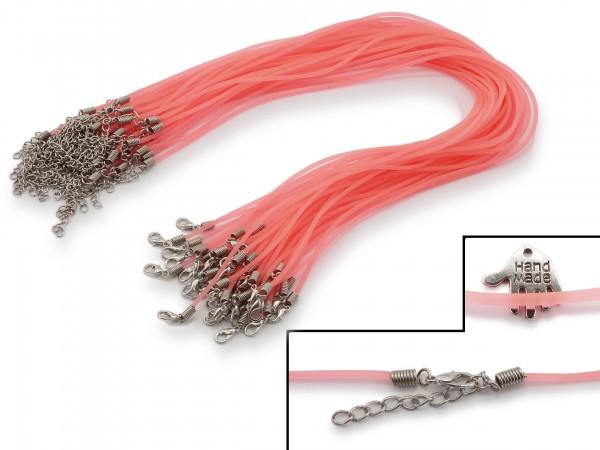 2 Halsbänder aus transparentem Kunststoff Pink