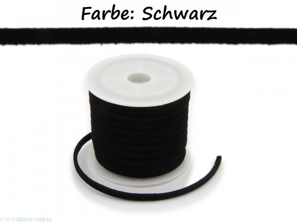 Kunstlederband in Wildlederoptik Farbe: Schwarz 5m lang 1,5mm dick 3mm breit