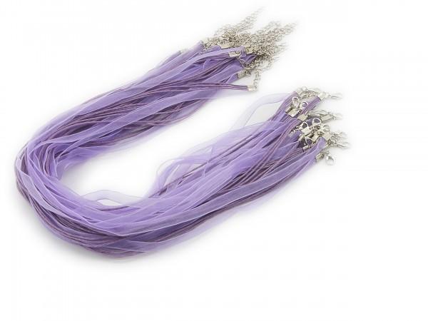 2 Halsbänder Organzaband Schleifenband Schmuckband Kette * Flieder *