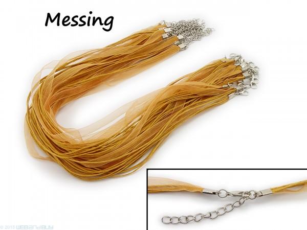 Halskette Organzaband Schleifenband Schmuckband Kette * Farbe: Messing *