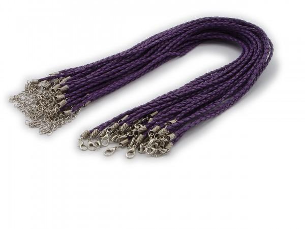 2 Halsbänder aus geflochtenem Kunstleder Violett