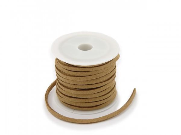 Kunstlederband in Wildlederoptik Zimt 5m lang 1,5mm dick 3mm breit