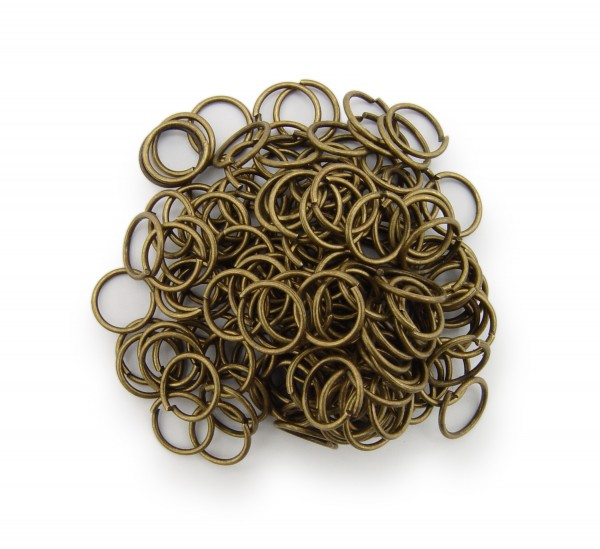 Binderinge / jump Rings 8mm Durchmesser Farbe Antik Bronze 50g ca.550 Stk