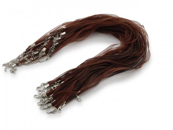 Halskette Organzaband Schleifenband Schmuckband Kette * Dunkelbraun *