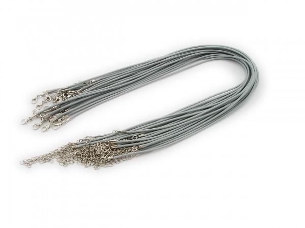 2 Halsbänder aus Wax Cord Hellgrau mit Karabinerverschluss