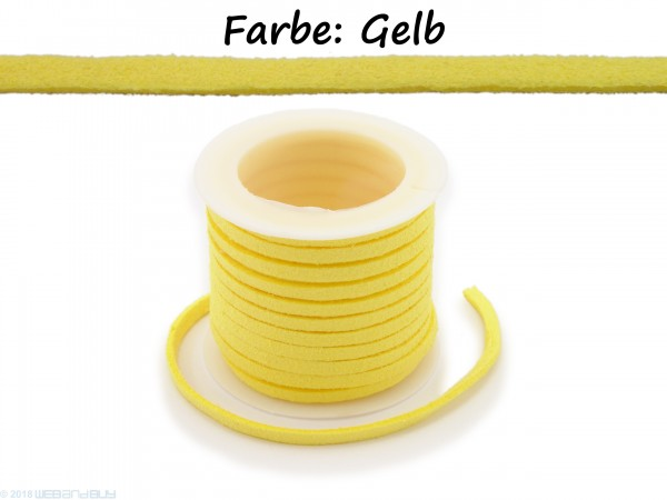 Kunstlederband in Wildlederoptik Gelb 5m lang 1,5mm dick 3mm breit