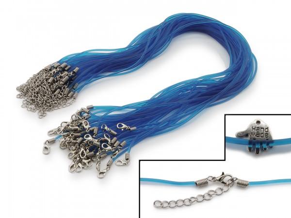 2 Halsbänder aus transparentem Kunststoff Blau