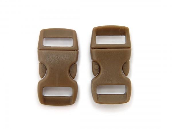 2 x Click Clip Verschluss Braun Schnalle Steckverschluss für Paraco. Rucksack Gürtel