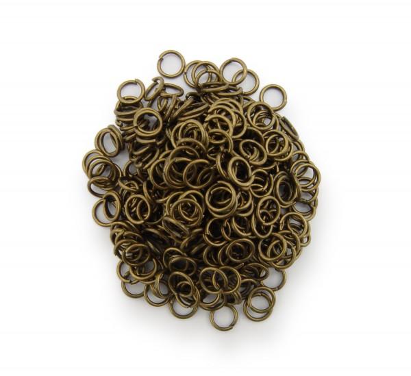 Binderinge / jump Rings 5mm Durchmesser Farbe Antik Bronze 15g ca.350 Stk