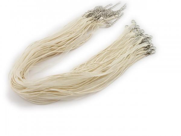 2 Halsbänder Organzaband Schleifenband Schmuckband Kette * Eierschale *
