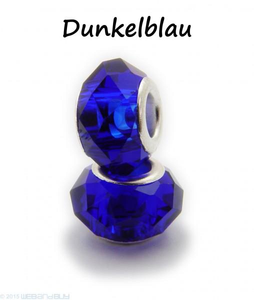 Facettierte Perle / Bead aus Glas 14 x 8 mm Farbe - Dunkelblau