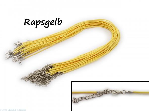 Halsband aus Wax Cord Rapsgelb mit Karabinerverschluss