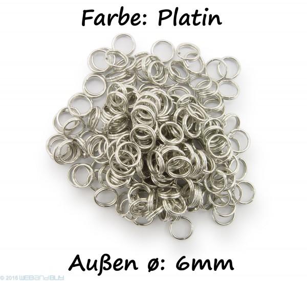 Schlüsselringe / split Rings 6mm Durchmesser Farbe Platin 15g ca.150 Stk