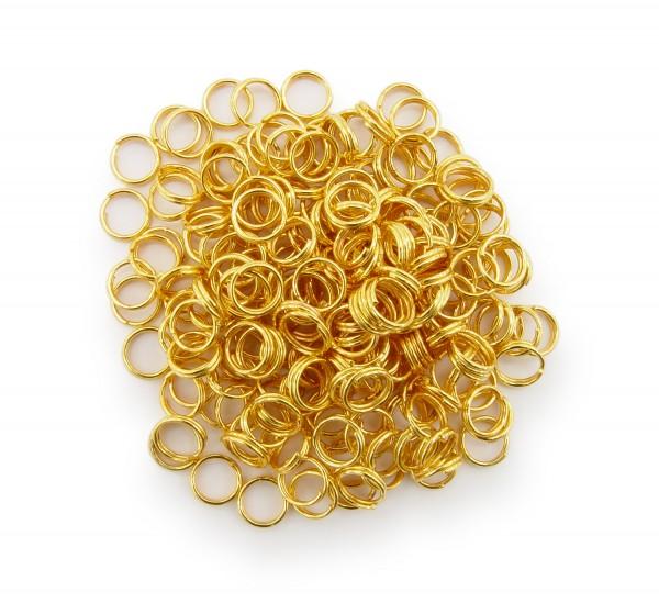 Schlüsselringe / split Rings 6mm Durchmesser Farbe Gold 15g ca.150 Stk