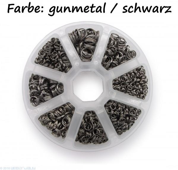 Schlüsselringe Set 4-10mm Durchmesser Schwarz / gunmetal