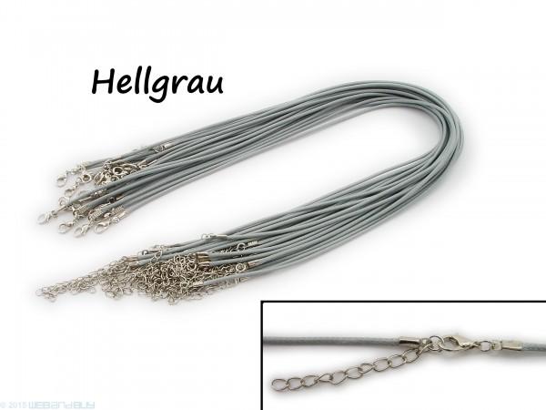 Halsband aus Wax Cord Hellgrau mit Karabinerverschluss